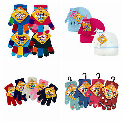 Childrens magic gloves hats giirls boys kids stretchy knitted winter warm