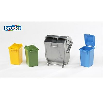 Bruder 1:16 Accessori F Set Di Bidoni Per Rifiuti Bins Trash Can  Art 02607