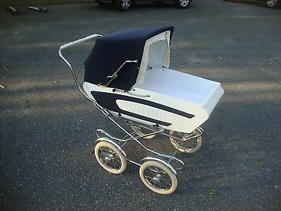 Vintage 1970's Blue Perego Pram Carriage Stroller Made In Italy Excellent Cond!!