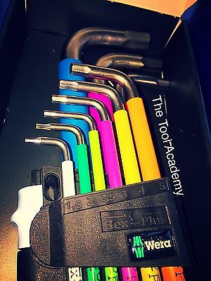 STAINLESS STEEL SHINY! WERA COLOUR HEX ALLEN KEYS XL LONG 1.5mm > 10mm IN HOLDER