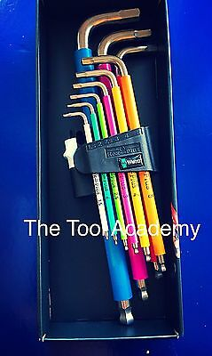 WERA TOOLS MULTI COLOURED HEX ALLEN KEY SET IN BOX 1.5mm   10mm STAINLESS STEEL