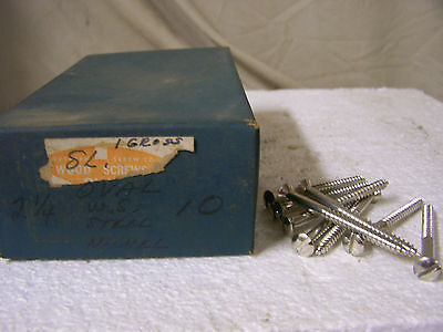 """#10 x 2 1/4"""" Nickel Plated Wood Screws Oval Head Slotted -Made in USA- Qty. 144"""