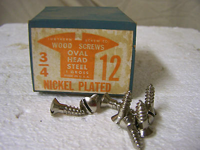 """#12 x 3/4"""" Nickel Plated Steel Screws Oval Head Slotted  Made in USA - Qty. 144"""