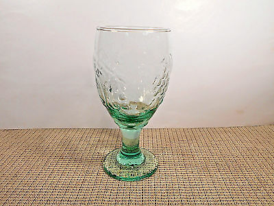 """Libbey Crystal Orchard Fruit Green Pattern Water Goblet 7"""""""