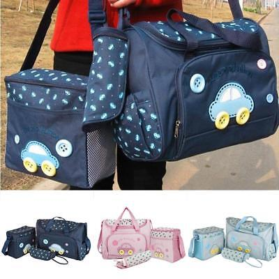 4Pcs/Set Multifunctional Baby Nappy Changing Bag Diaper Pad Handbag Mummy Tote