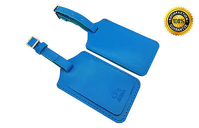 AVIMA® Premium 100% Genuine Handcrafted Leather Luggage Bag Tag 2 Pieces - Blue
