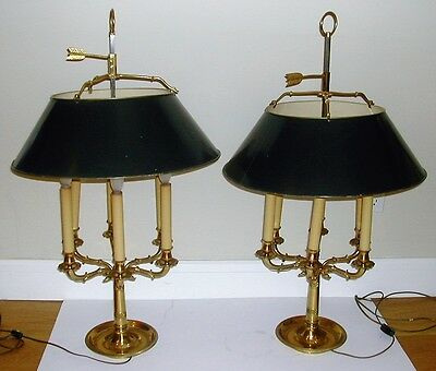 Pair of French Tole Brass Desk Lamps