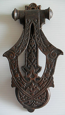 "Antique Eastlake Victorian Large 9"" Iron Doorknocker Sargent & Co"