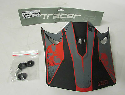 Fox Tracer Pro replacement Visor Youth / Kids Helmet Black & Red with skulls