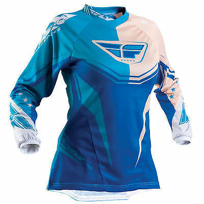 Fly Racing Kinetic ladies women girl off road race jersey aqua sand Large size