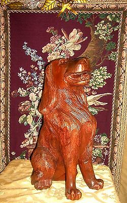 Antique Beautifully Carved and Detailed Mahogany Fireplace Dogs (2)