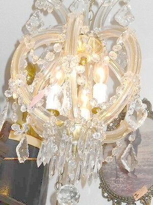 Antique Round 3 Light Crystal Chandelier w/ Unique Prisms, Glass Over Brass Arms