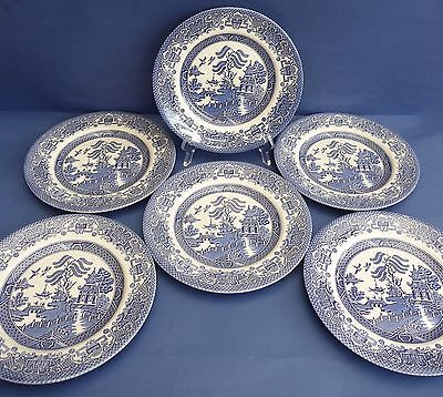 SET OF 6 EIT BLUE AND WHITE WILLOW PATTERN SALAD PLATES 22.5cm FAB CONDITION