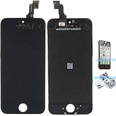 For iPhone 5S Black LCD Lens Touch Screen Display Digitizer Assembly Replacement