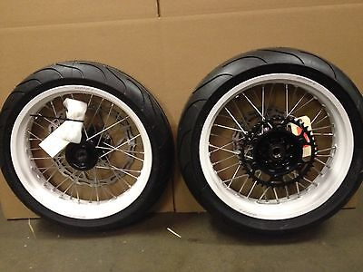"Warp 9 17"" Supermoto Wheels with Michelin Tires KX125 KX250 KX250F KX450F KLX"