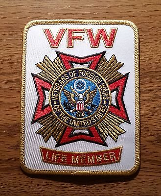 Veterans of Foreign Wars (VFW Life Member) Embroidered White Patch - New Style
