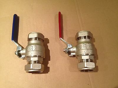 2 x RED/BLUE 28mm FULL BORE LEVER BALL VALVE ALTECNIC/INTABALL NEW/FREE POST