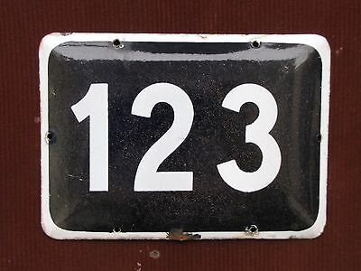 LARGE vintage ISRAELI enamel porcelain number 123 house sign # 123