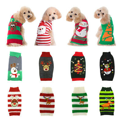 Pet Dog Christmas Warm Jumper Sweater Xmas Clothing Puppy Cat Knit Coat Costume