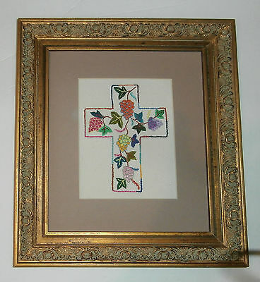 Embroidered Cross Gold Wooden Frame Caritas Shanghai