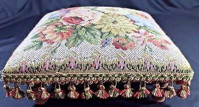 """CORONA DECOR Co 16"""" Square Low TAPESTRY FOOTSTOOL OTTOMAN Floral w Tassels"""