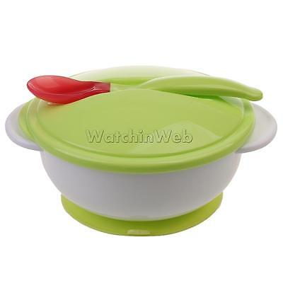 Baby Sucker Bowl+Spoon Utensils Feed Training Tableware Spill Proof Cutlery