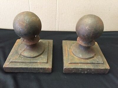 """Two Vintage  2 1/2"""" Round Ball Cast Iron 4"""" x 4"""" Fence Caps"""