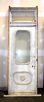 Antique 1890s Farmhouse Door in Jamb w/ Transom w/ Original Wavy Glass