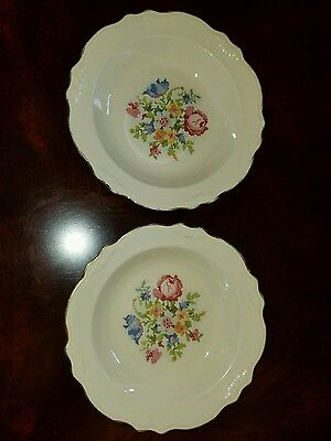 2 Cunningham and Pickett Petipoint Cross stitch Rimmed Soup bowls