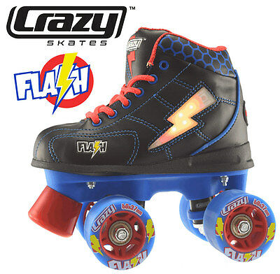 Crazy Flash Boys Junior Recreational High Top Roller Skates - Black - Size 34
