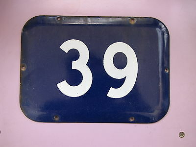 LARGE vintage ISRAELI enamel porcelain number 39 house sign # 39 CHRISTMAS SALE!