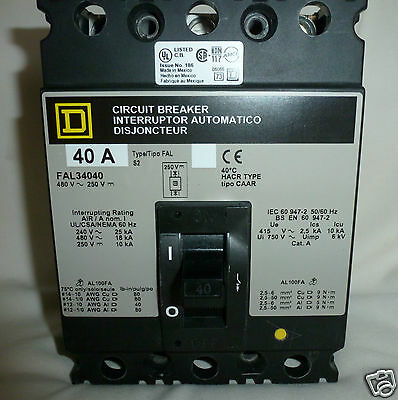SQUARE D Circuit Breaker 40Amp  FAL34040  3P 480V NEW IN BOX