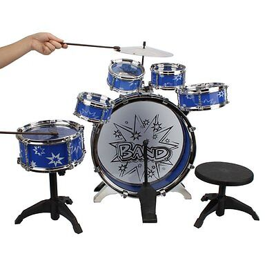 Big Band Kids Drum Set Kit with Stool Sticks Musical instrument Toy XMAS GIFT Bl