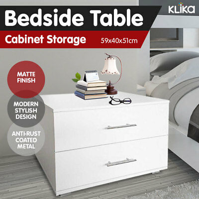 New Bedside Table Cabinet Storage Chest Lamp Side Nightstand Matte White