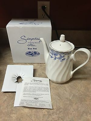 Simplicity by heritage coffee pot teapot urn blue flowers leaves berries NEW BOX