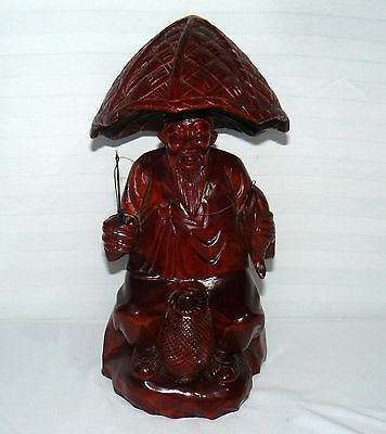 "Vintage Solid Wood Chinese Fishermen Hand Carved 14"" Statue Man Fishing Figure"