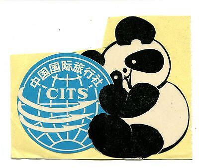 Vintage Label Decal Sticker CITS China Travel Service CUTE PANDA