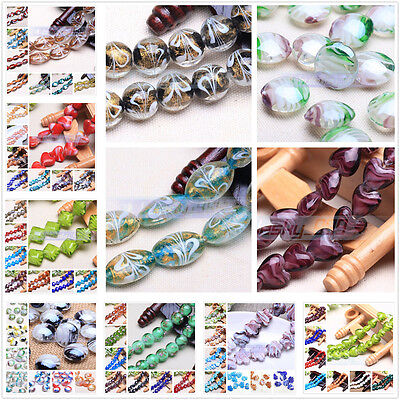 10pcs Oval/Heart/Flower Lampwork Crystal Glass Loose Beads Findings 120styles