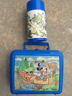 Walt Disney Aladdin Lunchbox Mickey Mouse And Pluto Swinging Bridge With Thermos