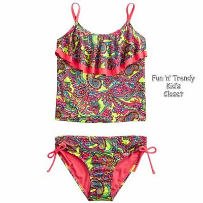 NWT Justice Girls Size 10 or 12 Paisley Ruffle Flounce Tankini Swimsuit 2-PC NEW