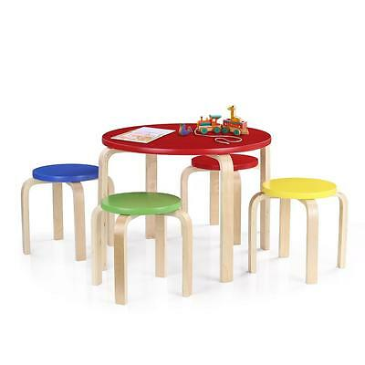 Kids Wood Table 4 Chairs Play Set Toddler Child Toy Activity Furniture Outdoor