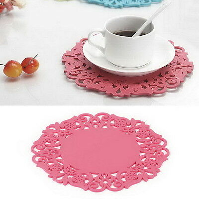 New Flower Hollow Out Silicone Placemat Table Mat Pad Cup Bowl Holder Coaster JL