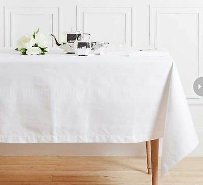 French Country Table Cloth White Linen Stitch Look Tablecloth Assort Sizes NEW