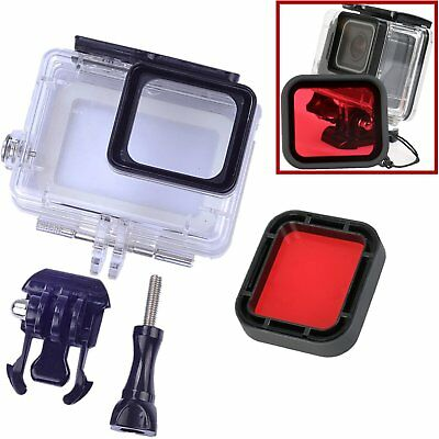 45M Impermeable Buceo Housing Funda Carcasa + Filter Lens Para Gopro Hero 5 Rojo