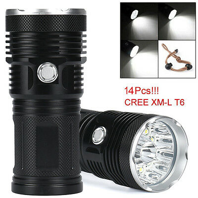Super Bright 34000LM 14x  XM-L T6 LED Flashlight Torch 4x 18650 Hunting Lamp