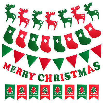 Merry Christmas Bunting Banner Garland Hanging Flags Ornaments Home Party Decor