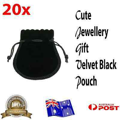 20X Oz Seller Cute Black Velvet Drawstring Jewellery Gift Pouches Bag 7.6x6.5