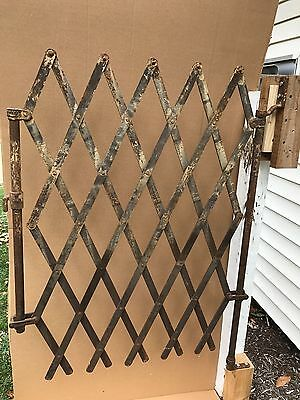 Antique Original Swivel Steel  Accordion Gate  Weight 45 Pounds Has Patten Date