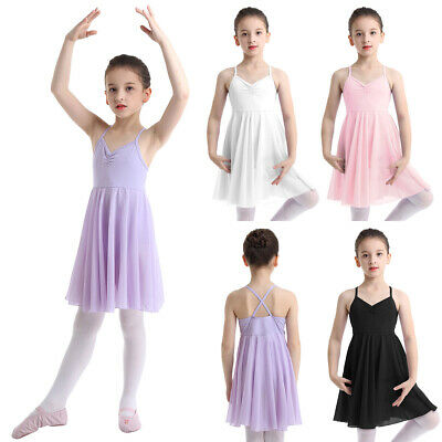 Girls Ballet Gymnastics Leotard Dress Chiffon Dance Costume Ballerina Dancewear
