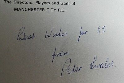 Manchester City Signed Vip Christmas Card By The Football Club Peter Swales 1985